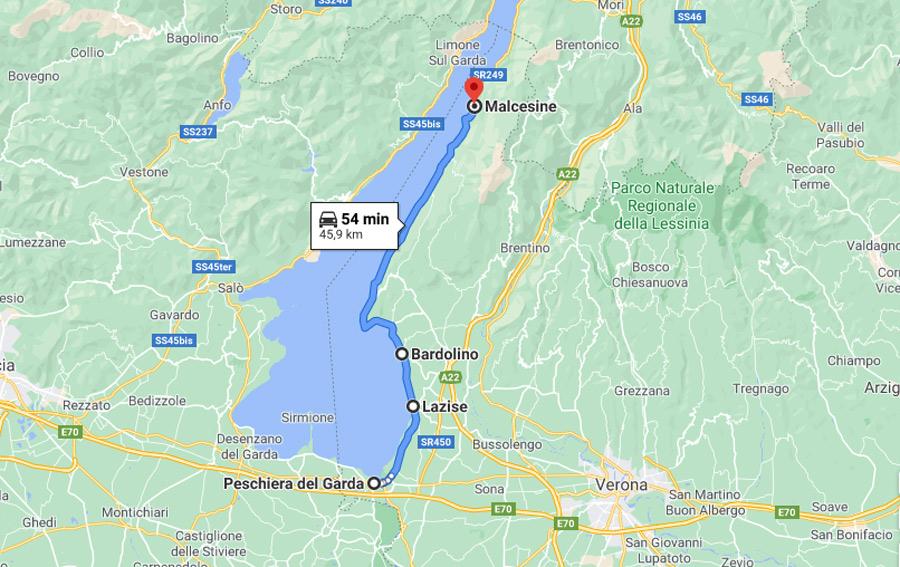 itinerario lago di garda